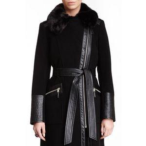 Via Spiga Faux Leather Faux Fur Collar Coat